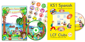CD, Lyrics booklet, Stickers, KS2 Spanish teachers book, some foreign language teaching materials from our shop